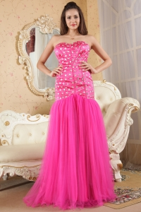 Hot Pink Empire Sweetheart Beading Prom Dress