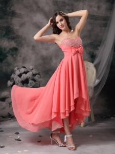 Prom Dress Sweetheart High-low Watermelon Red