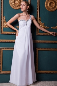 White Prom Dress One Shoulder Beading