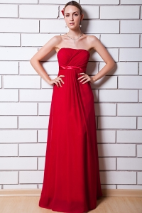 Prom Dress Wine Red Empire Strapless Chiffon Ruch