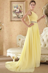 Yellow One Shoulder Beading Ruch Evening Dress