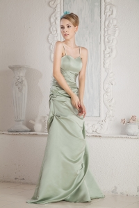 Straps Brush Train Satin Beading Prom Dress Apple Green