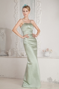Apple Green Column Straps Brush Train Prom Dress