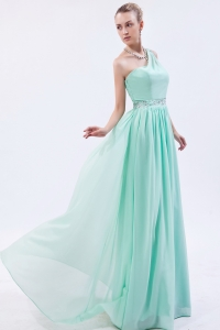 One Shoulder Apple Green Beading Prom Dress