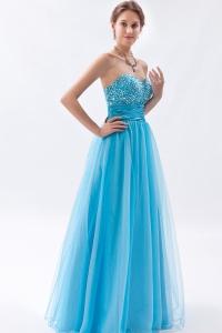 Baby Blue Sweetheart Tulle Beading Prom Dress