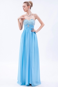 Baby Blue Empire Sweetheart Chiffon Beading Prom Dress