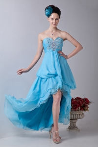 Homecoming Dress Baby Blue Sweetheart High-low Chiffon