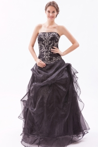 Black Strapless Floor-length Organza Prom Dress