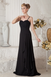 Black Empire Straps Floor-length Ruch Prom Dress