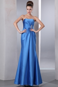 Prom Dress Blue Strapless Ankle-length Beading