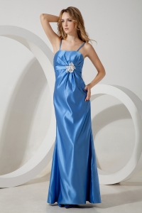 Blue Straps Floor-length Taffeta Appliques Evening Dress