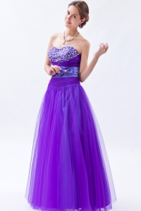 Eggplant Purple Sweetheart Tulle Bow Prom Dress