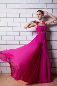 Fuchsia Empire Square Beading Prom Dress