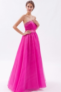 Hot Pink Prom Dress Sweetheart Organza Beading