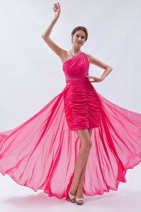 One Shoulder High-low Sequins Prom Dress Hot Pink