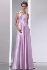 Lavender Halter Brush Train Elastic Wove Satin Evening Dress