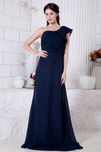 Navy Blue One Shoulder Ruch Prom Dress