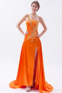 Orange One Shoulder Embroidery Prom Dress