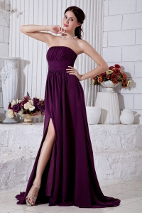 Purple Strapless Brush Train Chiffon Ruch Prom Dress