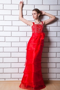 Prom Gown Red Column Straps Floor-length Beading