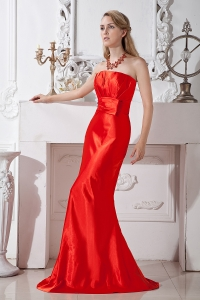 Prom Dress Red Mermaid Strapless Ruch and Beading