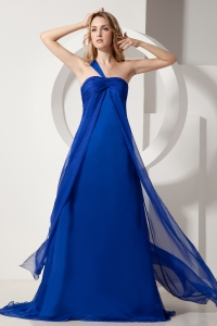 Empire One Shoulder Satin Ruch Prom Dress Royal Blue