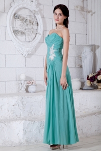 Turquoise Empire Sweetheart Ankle-length Prom Dress