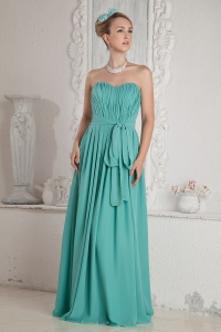 Turquoise Empire Sweetheart Chiffon Ruch Sash Prom Dress