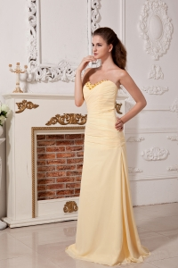 Yellow Sweetheart Chiffon Ruch and Beading Prom Dress