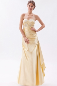 Sweetheart Floor-length Yellow Beading Prom Dress