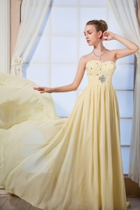 Yellow Empire Sweetheart Chiffon Beading Prom Dress