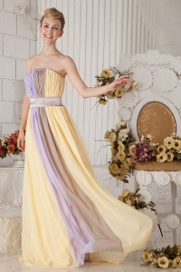 Prom Dress Yellow and Lilac Colorful Strapless