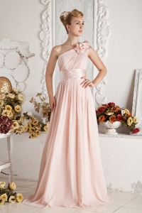 Baby Pink One Shoulder Hand Made Flowers Ruch Prom Dress