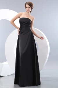 Black Empire Strapless Taffeta Ruch Evening Dress