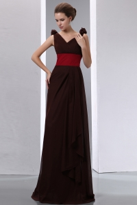 Brown Column V-neck Brush Train Ruch Prom Evening Dress
