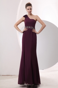 Burgundy Empire One Shoulder Chiffon Beading Prom Dress