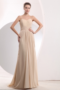Empire Brush Train Ruch Evening Dress Champagne