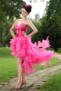 Hot Pink Sweetheart High-low Beading Homecoming Dress