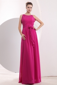 Empire Bateau Chiffon Sashes Evening Dress Hot Pink