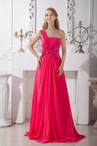 Hot Pink One Shoulder Brush Train Sequins Prom Dress