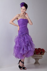 Homecoming Dress Mermaid Tea-length Ruch Lavender