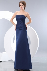 Navy Blue Column Strapless Satin Ruch Prom Dress