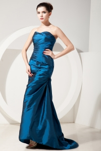 Prom Dress Teal Sweetheart Brush Train Satin Ruch