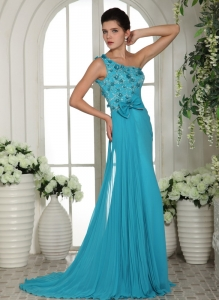 Prom Gowns Baby Blue Hand Made Flowers Ruch One Shoulder
