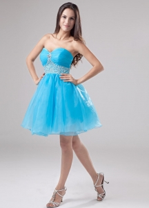 Baby Blue Beading Organza Mini-length Prom Dress