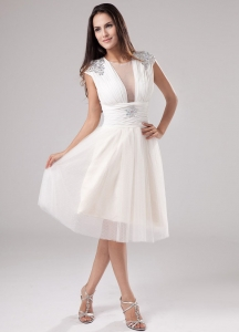 Scoop Tea-length Tulle Beading 2013 Prom Dress
