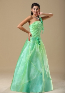 Apple Green Prom Dress Hand Made Folwers Ruched Bodice