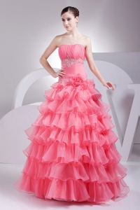 Watermelon Red Ruching Ruffled Layers Prom Dress