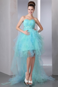 Aqua Blue Asymmetrical Sweetheart Organza Prom Dress