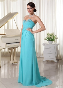 Aqua Blue Ruch Sweetheart Beaded Prom Dress Chiffon